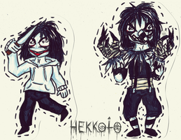 Paper Dolls - Jeff the Killer and Laughing Jack by Hekkoto