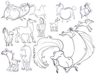 Horse Sketches-Scraps by killskerry