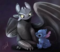 Toothless and Stitch by sofear