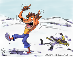 Crash Bandicoot - Snowball Fight 5 by JenL