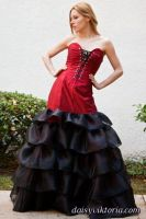 Red and Black Ruffled Gown by DaisyViktoria
