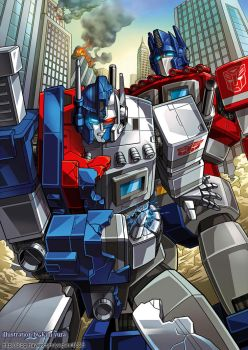 Ultra magnus and Optimus prime by GoddessMechanic