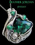 Chatoyant Malachite Wire-Wrapped Pendant in SS by HeatherJordanJewelry