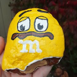 Broken peanut mm - painted rock  by Batnamz