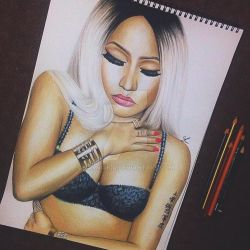 Blonde Nicki Minaj Prismacolour Portrait by Narniakid