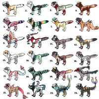 24 canine adoptables CLOSED by HazeyMoonlight