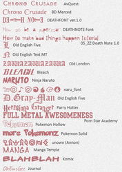 Anime Fonts -updated by ayako-chibi-chan
