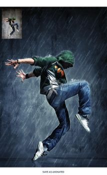 Animated Rain Photoshop Action by GraphicAssets
