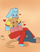 Hanging out with the bf by Channydraws
