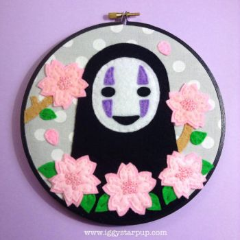 No Face Cherry Blossom Embroidery by iggystarpup