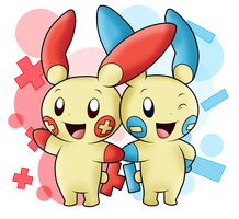 AT with Hiyukee: Plusle and Minun by SuperLakitu
