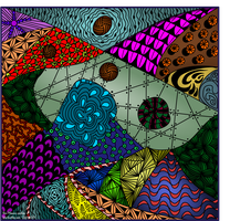 Coloured Zentangle 3. Kaleidoscope of colours by Tom-Masons-admirer