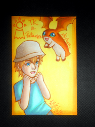 TK and Patamon ATC by Libra-the-Hedghog