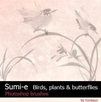 Sumie plants and birds by Coreaux