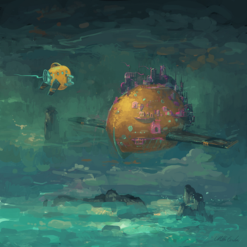 Approaching Blimp City by angrymikko