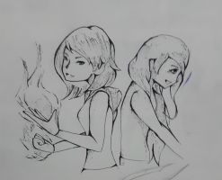 Flame twins in battle doodle by faflame101