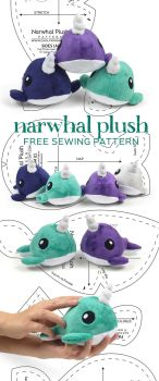 Narwhal Plush Sewing Pattern by SewDesuNe