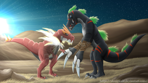 Tyrantrum and DarkTyranomon by DemyxXIII
