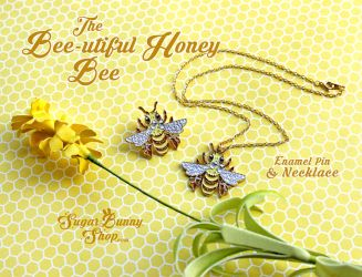 Bee-utiful Honey Bee Enamel Pin and Necklace by celesse