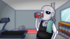 Sans's gym time by Uketello