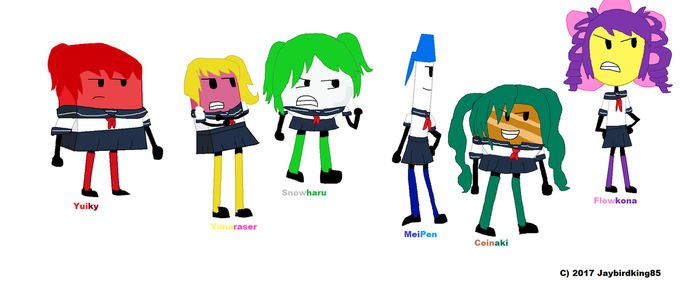 Rainbow 6 FTM/FTF BFDI contestants (Cosplay) by jaybirdking85