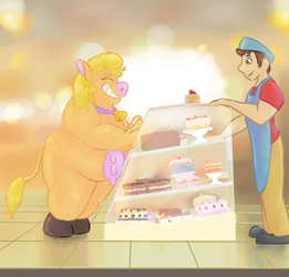 [Commission] Melisa at the Cake Shop by Brumaticalpie