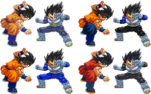 Goku Vs Vegeta Return of F costumes sprites by Balthazar321