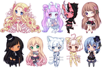 C: Teeny Tiny Chibi Batch 02 by KirasElixir