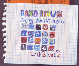 Set of 20 Hand Drawn Social Media Icons - WDB vol2 by cubexv