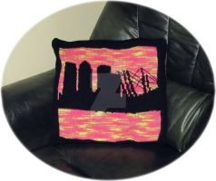 Canary Wharf and the Millennium Dome Cushion by buttercupminiatures