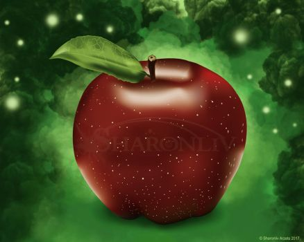 Red Apple - Illustration by Sharonliv-Arzets