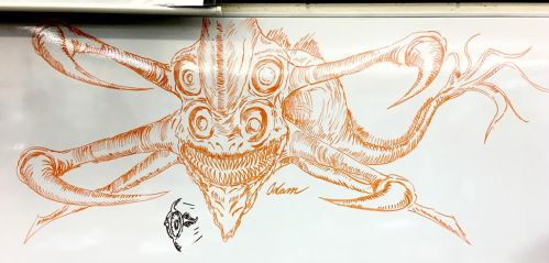 SUBNAUTICA: Reaper Leviathan (on a whiteboard) by Adam-The-Person