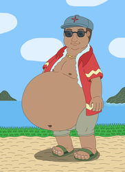 A guy with big belly in Hawaii by MCsaurus