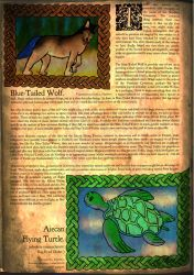 Bestiary page: Blue-Tailed Wolf and Flying Turtle by wwwwolf