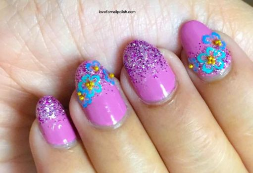 Pink Glitter ombre and Blue Flowers by Gorgeousnails