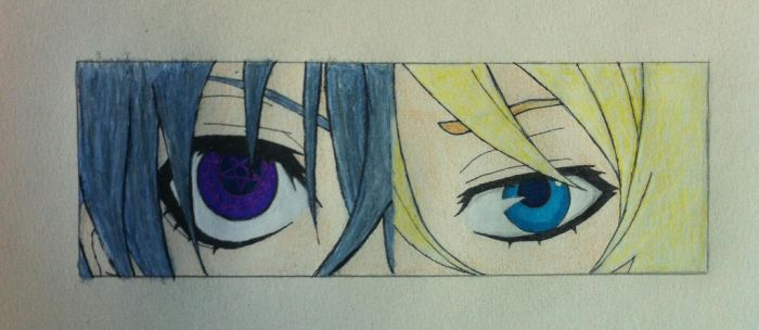 Ciel/Alois Eyes Bookmark (colored) by gothyghosty