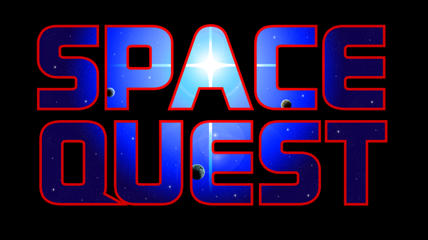 Space Quest Logo Recreation 4k (Black BG) by MusicallyInspired