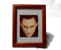 Loki - Cross Stitch Framed by shingorengeki
