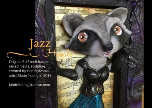 Anthropomorphic Raccoon Jazz Hands Wall Art Sculpt by MarieYoungCreative