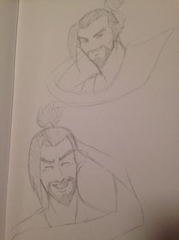 Overwatch: Hanzo Smiling - sketch by OokamiWarrior1234