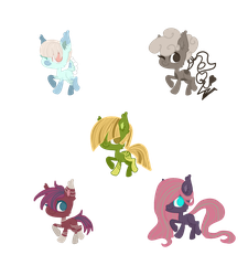 ponies for adoption 50 points each by Mewzet