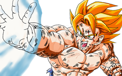 Goku: Angry Kamehameha coloured by Evil-Black-Sparx-77