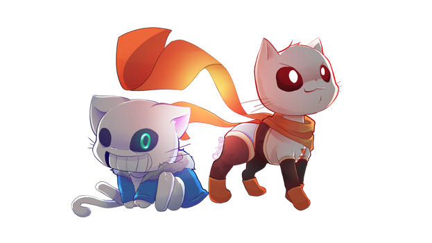 Sans and Papyrus Cat version by CKibe
