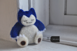 Needle felted snorlax