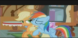 Rainbow Dash Kissing AppleJack by SportaTiffany
