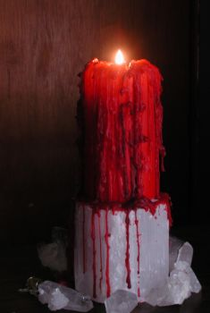Dripping Red Candle w Crystals by stockinthecorridors