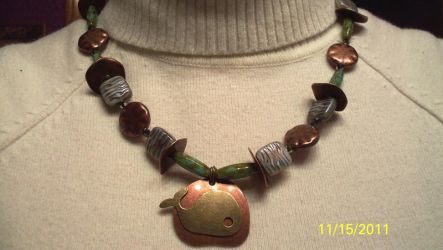 Stone and Copper Whale Necklace by RyouYamiBakura