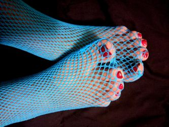 Neglected Chubby Toes in Blue Fishnet 4 by X-Stella