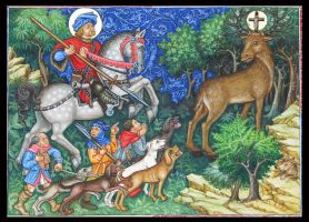 The Conversion of Saint Hubert by Behydezell