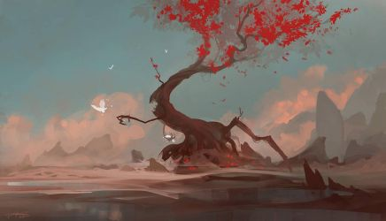 Red Tree by Exphrasis